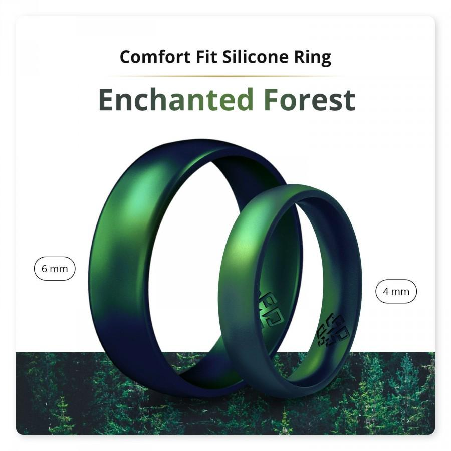 Mariage - Knot Theory Enchanted Forest Silicone Ring for Couples - Breathable Matching Green Rubber Wedding Band - Birthstone Dark Emerald Gift