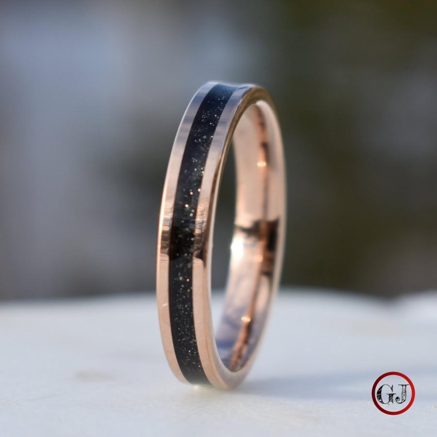 Mariage - Tungsten Rose Gold Ring Black Druzy Quartz Wedding Band, Womens Ring, Womens Wedding Band