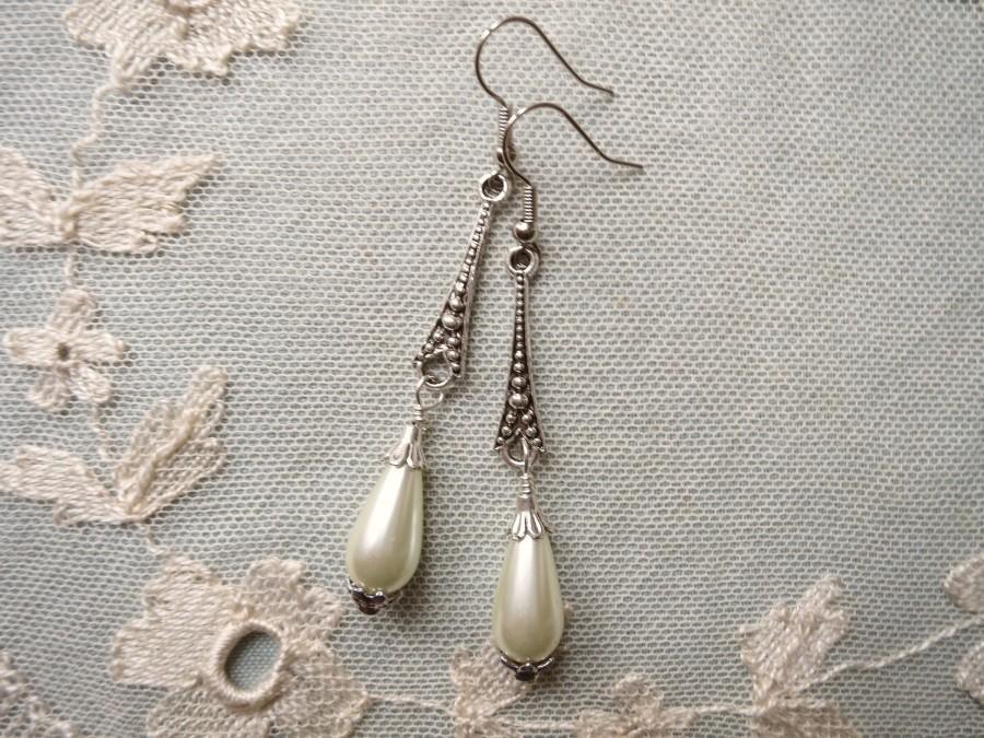 Mariage - Pearl Drop Earrings Roaring 20s Art Deco Style