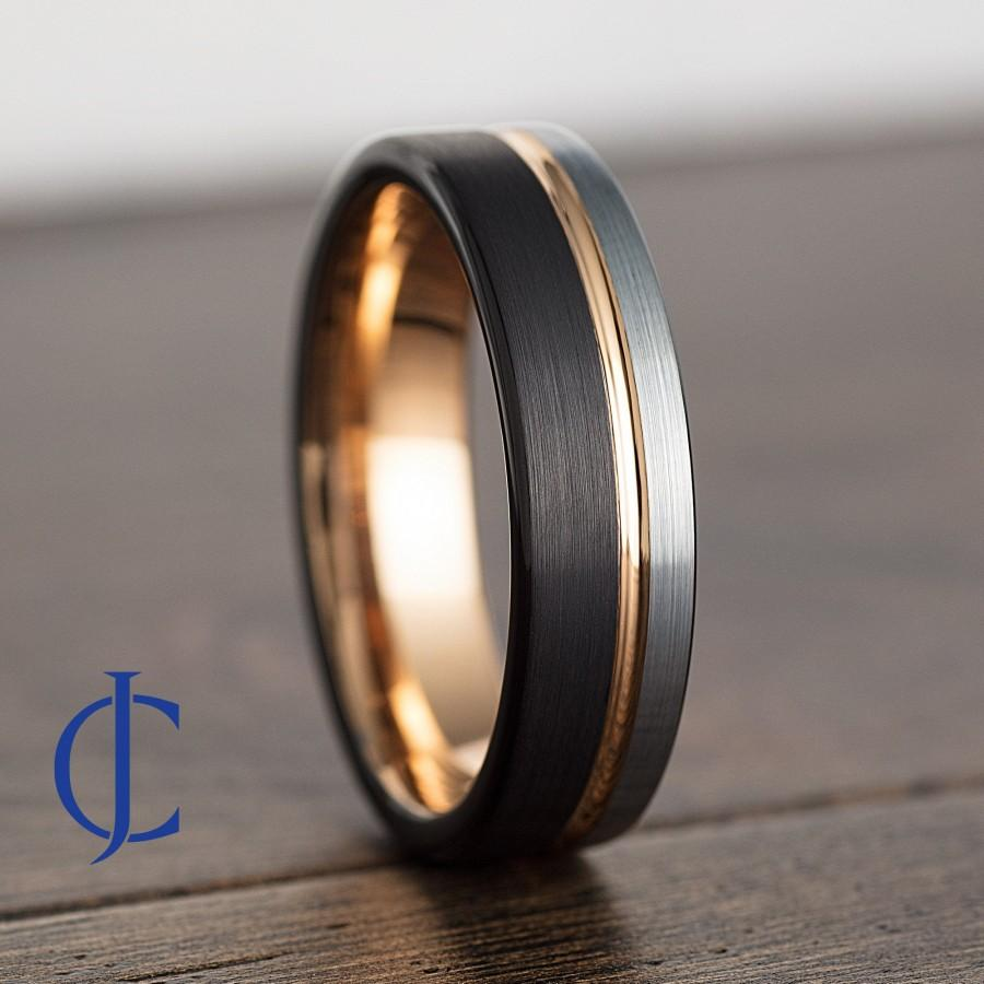 Wedding - Mens Wedding Band, Mens Ring, Mens Wedding Ring, Male Wedding Band, Black Ring, Wedding Bands Women, Engraved Ring, 6MM Wide