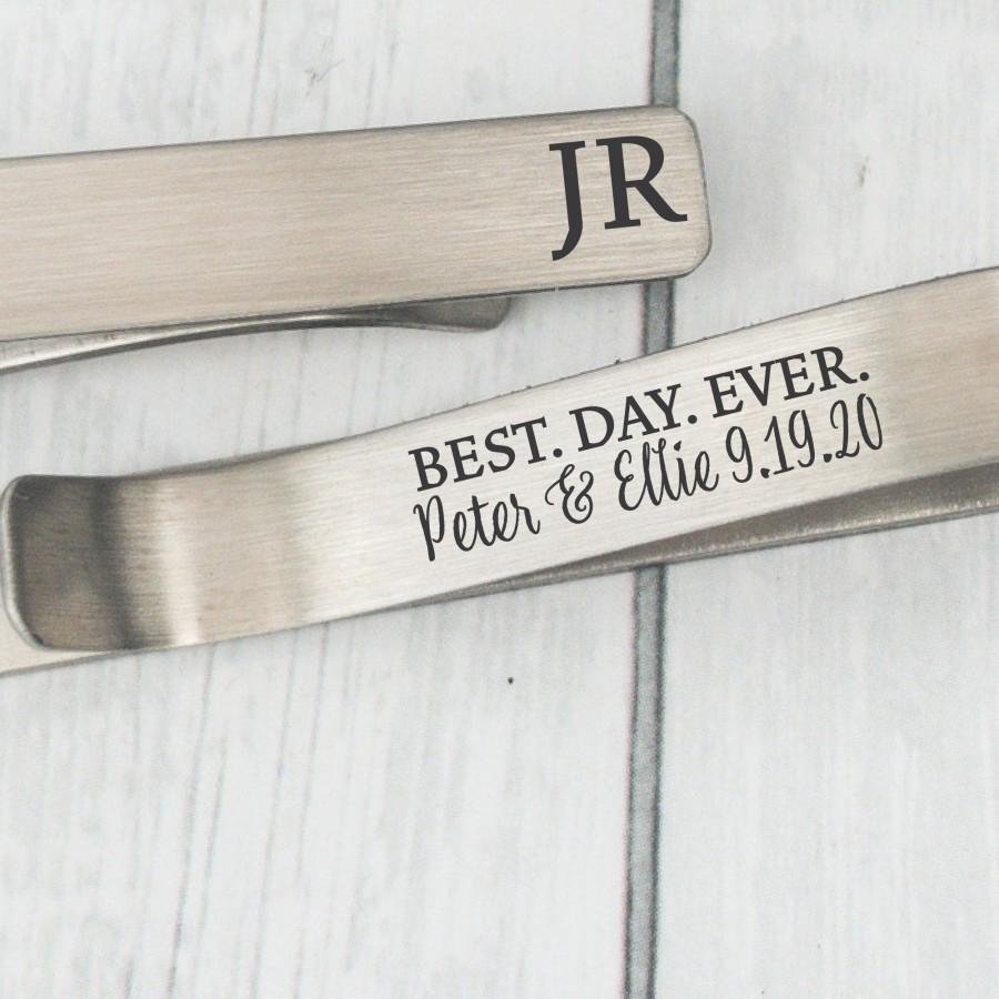 Hochzeit - Personalized Initials Tie Clip Wedding Day Tie Clip Best Day Ever Tie Clip For Groom Gift From Bride Groom Tie Bar Personalized  Men Tie Bar