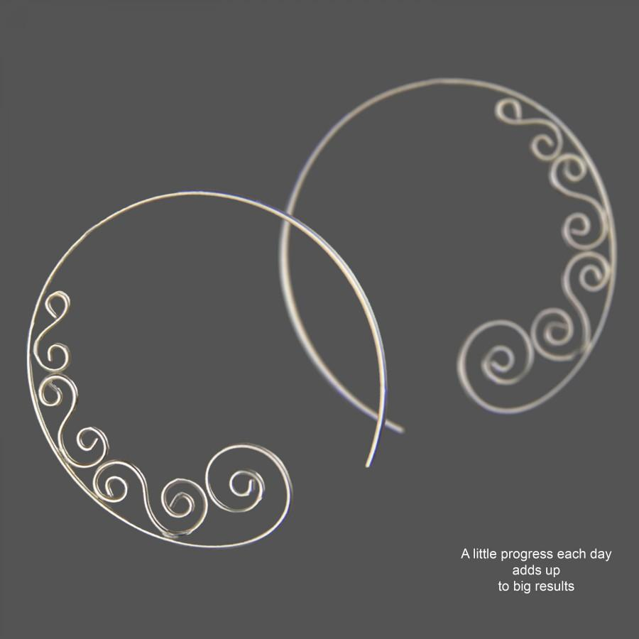 Hochzeit - Hoop scroll earrings, spiral earrings, gradation spiral, handmade jewelry, birthday gift, bridesmaid gift, gift for her, free US shipping