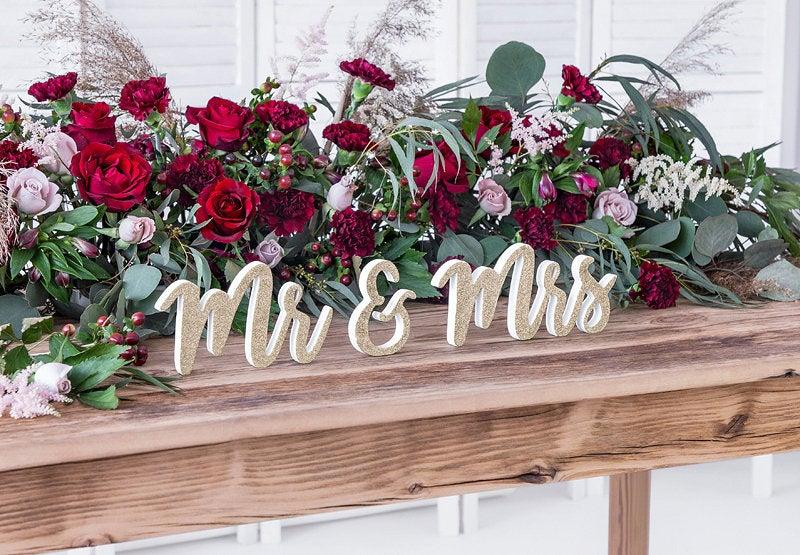 Wedding - Gold Glitter Mr Mrs Wooden Signs, Wedding Decorations, Wedding Table Signs, Wooden Wedding Decorations, Rustic Table Decor, Wedding Signs