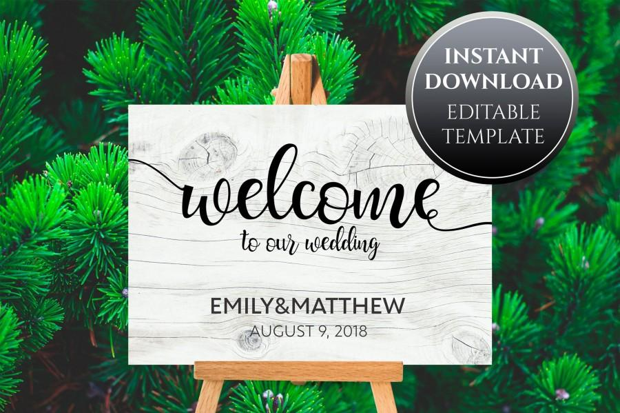 Hochzeit - Printable Wood Wedding Welcome Sign Template - White Wood Texture, Calligraphy, Black and White, Editable Templates, DIY Wooden Wedding Sign