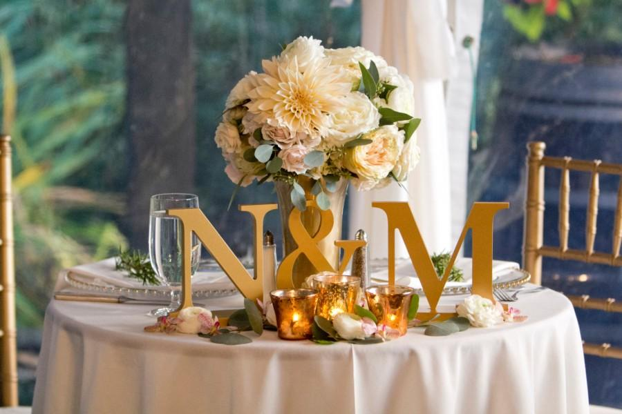 Hochzeit - Wedding Initial 3-Piece Set - Painted Letters Standing on Bases for Candy Bar or Table Wedding Decor - Wedding Initial Signs (Item - INI200)