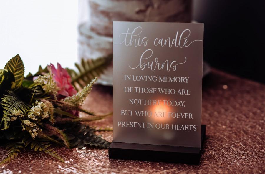زفاف - Wedding Memorial, In Loving Memory Wedding Sign, Memorial Candle, Acrylic Wedding Sign, Wedding Memorial Sign, Remembering Loved Ones