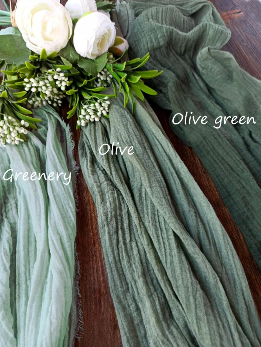 زفاف - Gauze table runner wedding, Greenery Olive green table runner,  Aisle runner wedding, Rustic wedding decor