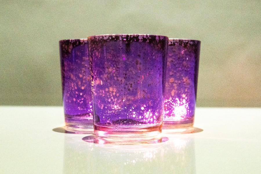 زفاف - Set of 12 MERCURY GLASS Purple Speckled Glass Candle Holders Votive Holder Led Candleholder Tea Light Wedding 2.5 Winter Christmas