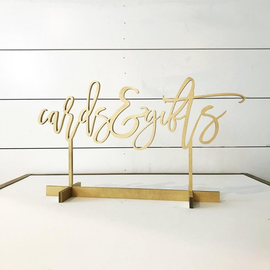 Wedding - Cards and Gifts sign, modern script table number, Freestanding table numbers, calligraphy table numbers, wedding table numbers, gold table
