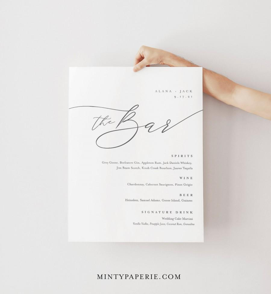Hochzeit - Minimalist Bar Menu Sign, Printable Wedding Bar Menu, Alcohol Drinks Menu, 100% Editable Template, Instant Download, Templett #0006-107BM