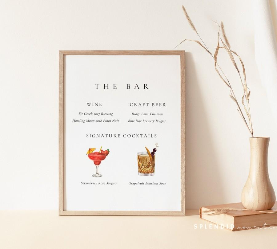 Свадьба - Editable Wedding Bar Menu Sign Template, Wine and Beer List Sign, Bar Wedding Signature Cocktails Drinks Template in Multiple Sizes - Claire