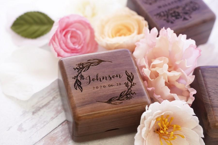 Mariage - Square Wooden Ring Box