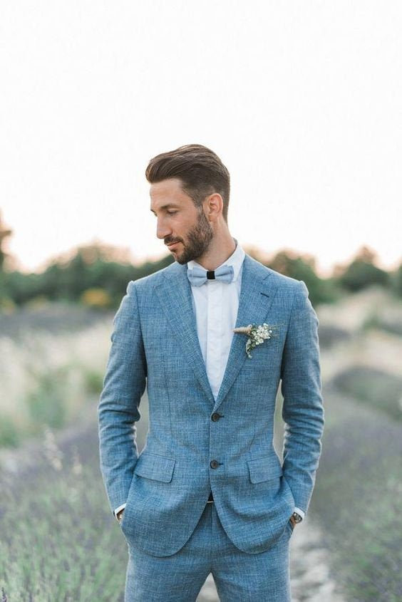 Wedding - Men Suits, Blue Linen Suits, 2 Piece Wedding Groom Wear Suits, Two Button Regular Fit, Summer Suits, Beach Suits,