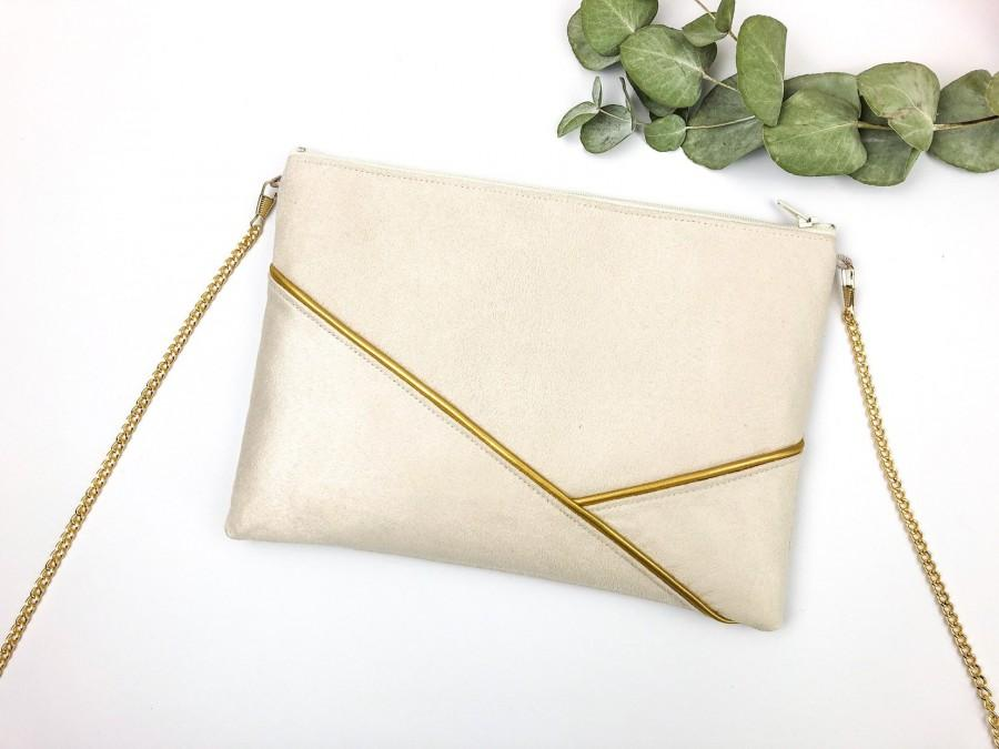 Wedding - Sleeve Golden beige wedding, bridesmaid, nude, beige and gold graphic shoulder bag, wedding guest bag