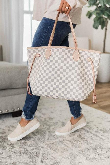 Wedding - Grey Checkered Bag with WALLET,grey checkered purse, Checkered Backpack, high end Backpack, Fashionable Backpack,plaid checkered bag