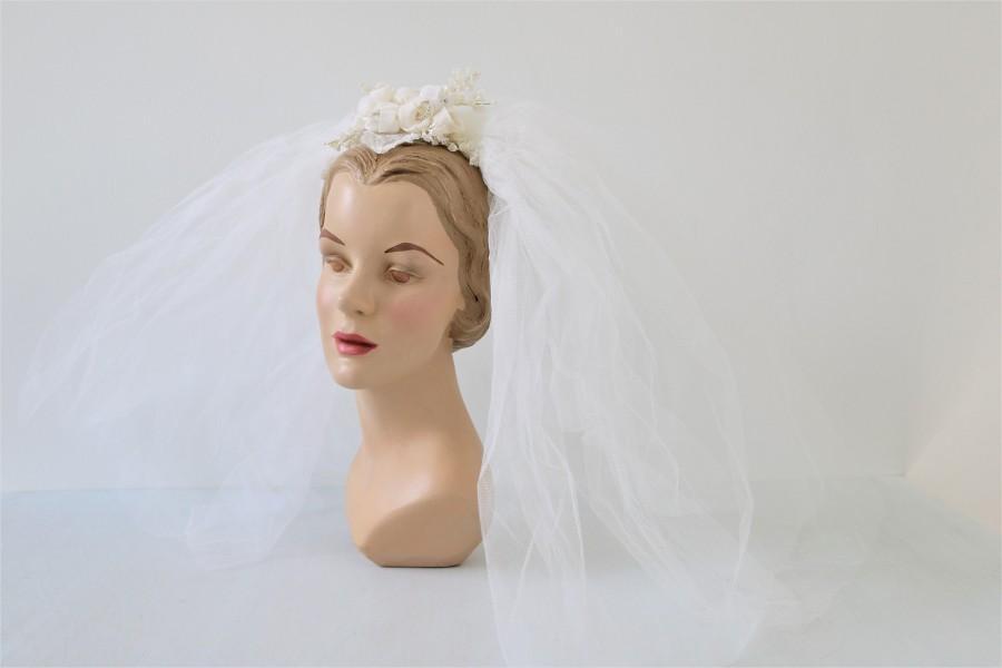 زفاف - Vintage Short Wedding Veil Headpiece 1960s Bridal Veil  Rose Headpiece
