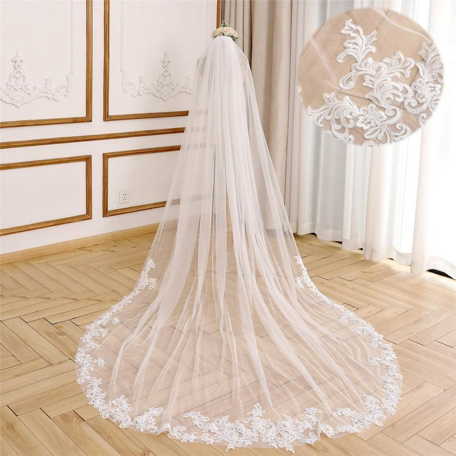 Wedding - Branch Lace Wedding Veil Cathedral Bridal Veil Long Lace Veil Simple Ivory Bridal Veil Long Lace Veil Stunning Lace Veil Soft Tulle Veil