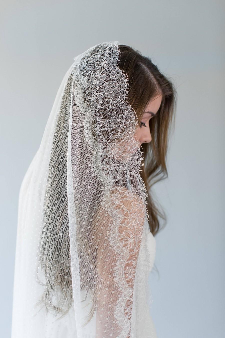Mariage - Mantilla Veil, Ivory Lace Wedding Veil, Dotted Circle Veil, Polka Dot Bridal Veil, Swiss Dot Veil