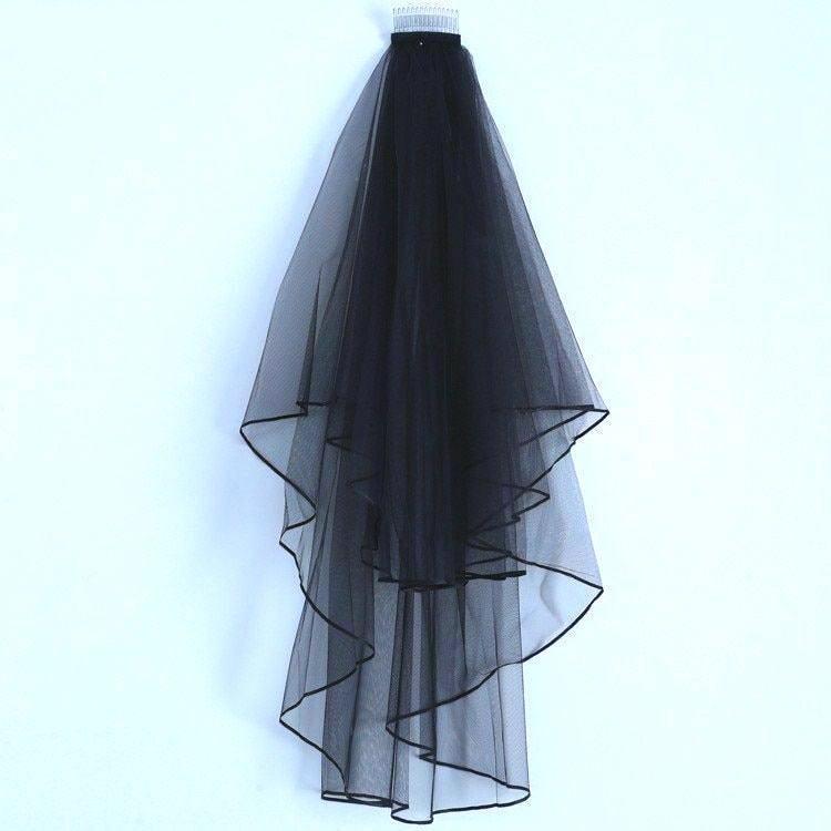 Hochzeit - soft tulle 2 layer GOTHIC BLACK VEIL