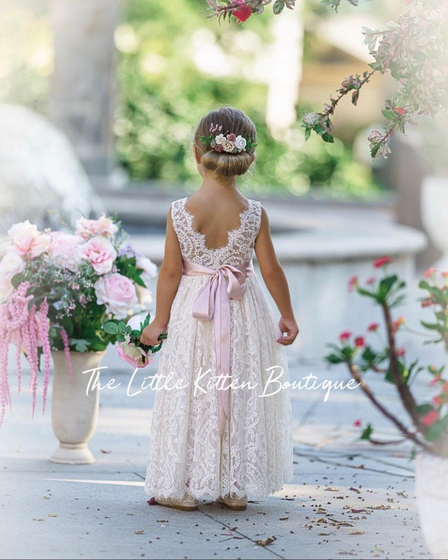 Hochzeit - Flower girl dress, Bohemian Flower Girl Dress, rustic flower girl dress, boho flower girl dress, ivory lace flower girl dress, toddler dress