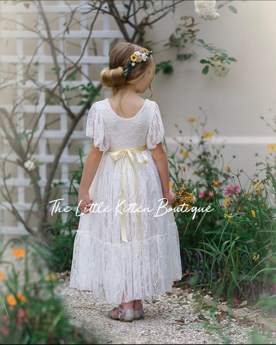 Hochzeit - lace flower girl dress, flower girl dress, bohemian flower girl dress, boho flower girl dress, ivory flower girl dress, flower girl dresses