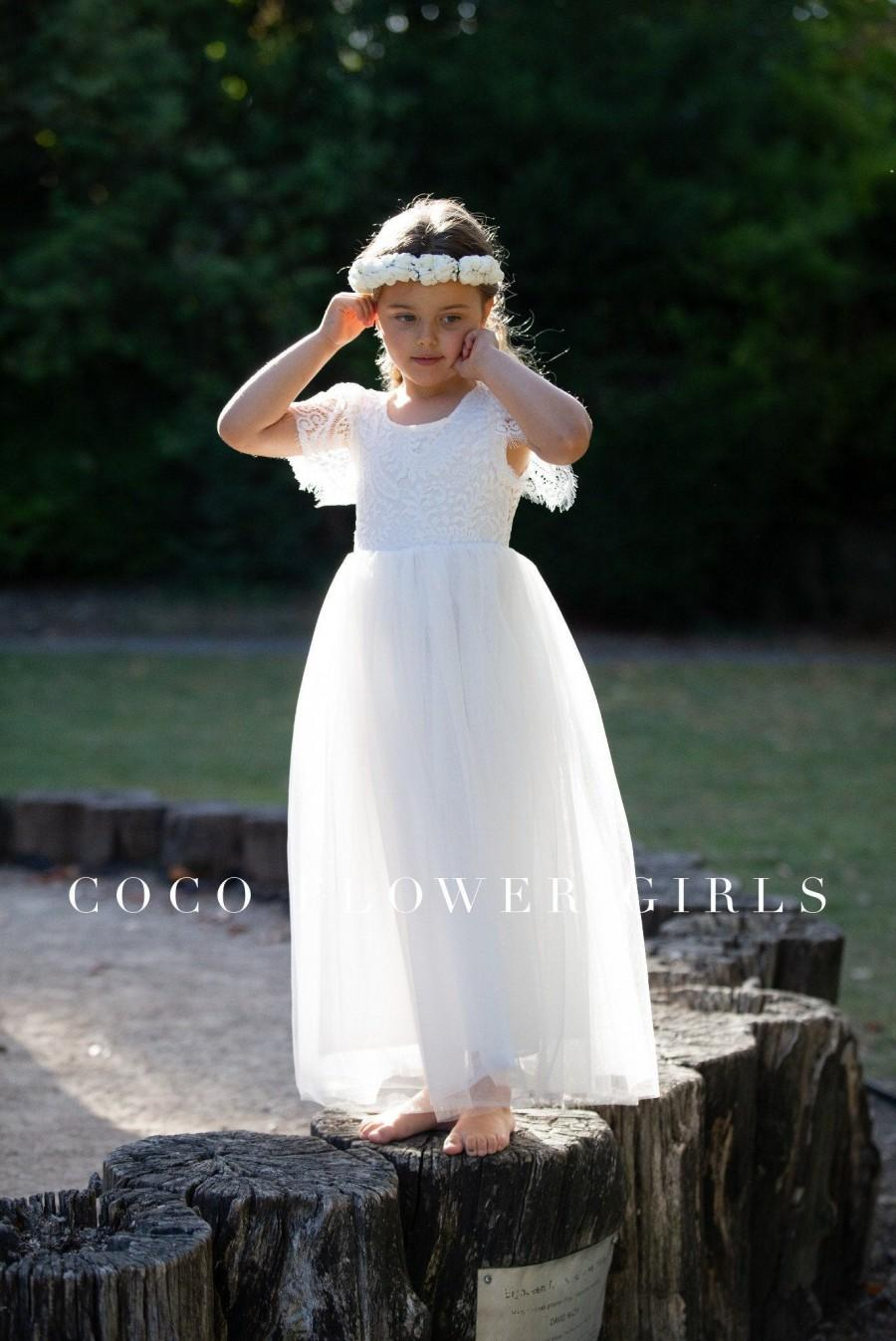 Hochzeit - Very Pretty Long White Layered Tulle Lace Flutter Sleeve Flower Girl Dress - Ice White - Bohemian Hippy Beach Rustic Wedding Style