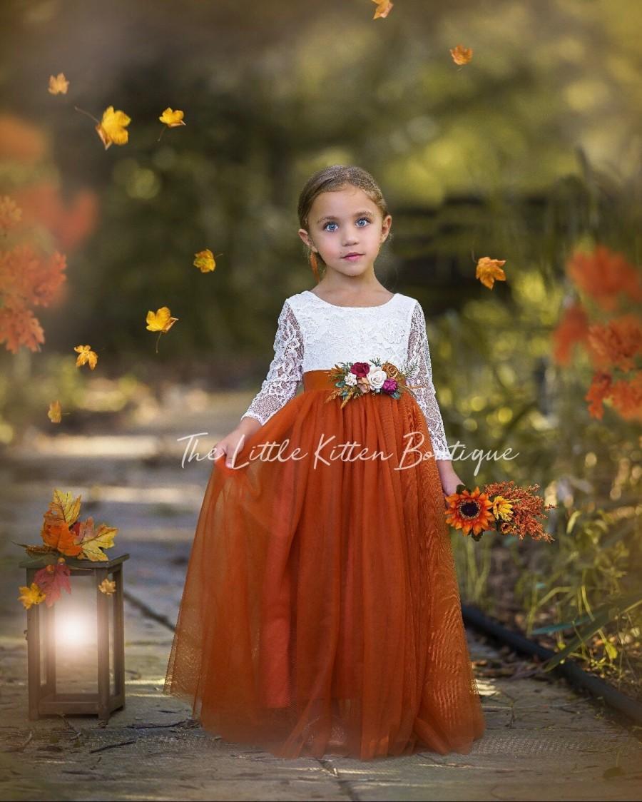 Hochzeit - Burnt Orange tulle flower girl dress, Rust Flower Girl Dress, rustic lace flower girl dress, boho flower girl dress, flower girl dress, Rust