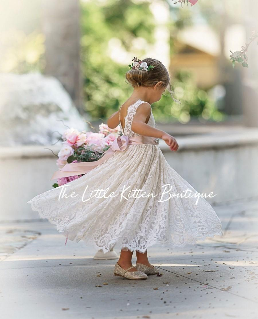 Wedding - Bohemian flower girl dress, White lace flower girl dress, rustic flower girl dress, boho flower girl dress, Ivory Lace flower girl dresses