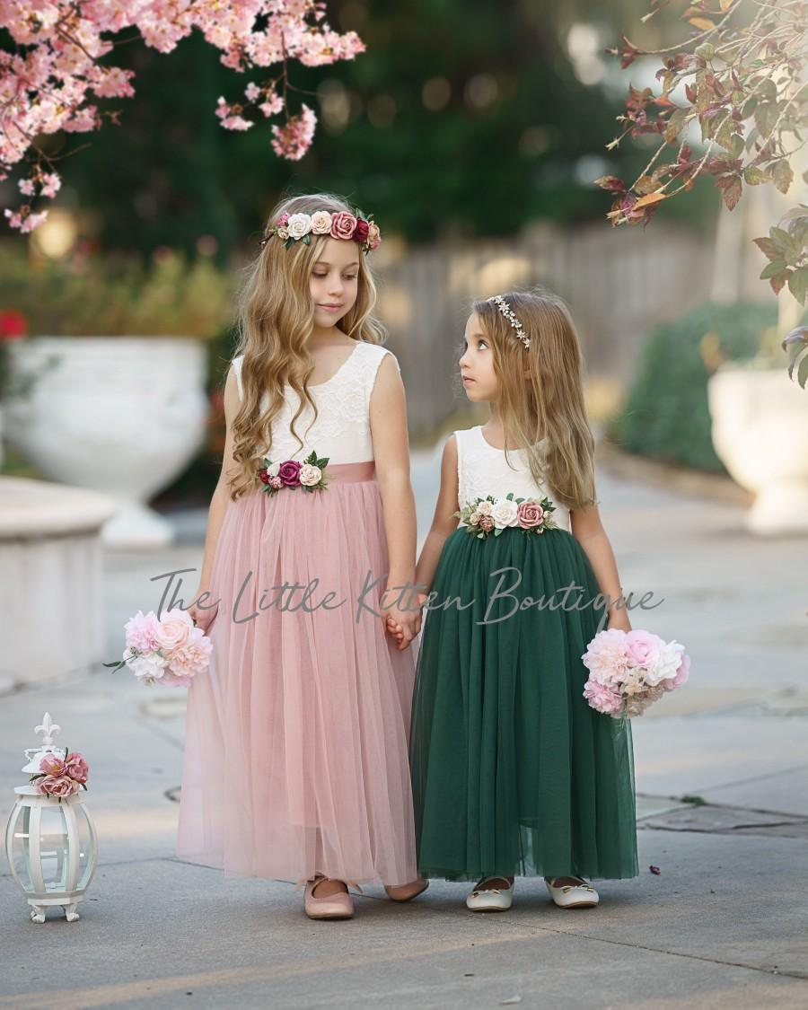 Hochzeit - Tulle Flower Girl Dress, Forest Green Flower Girl Dress, Mauve Flower Girl Dress, Rustic lace flower girl dress, Boho Flower Girl Dress