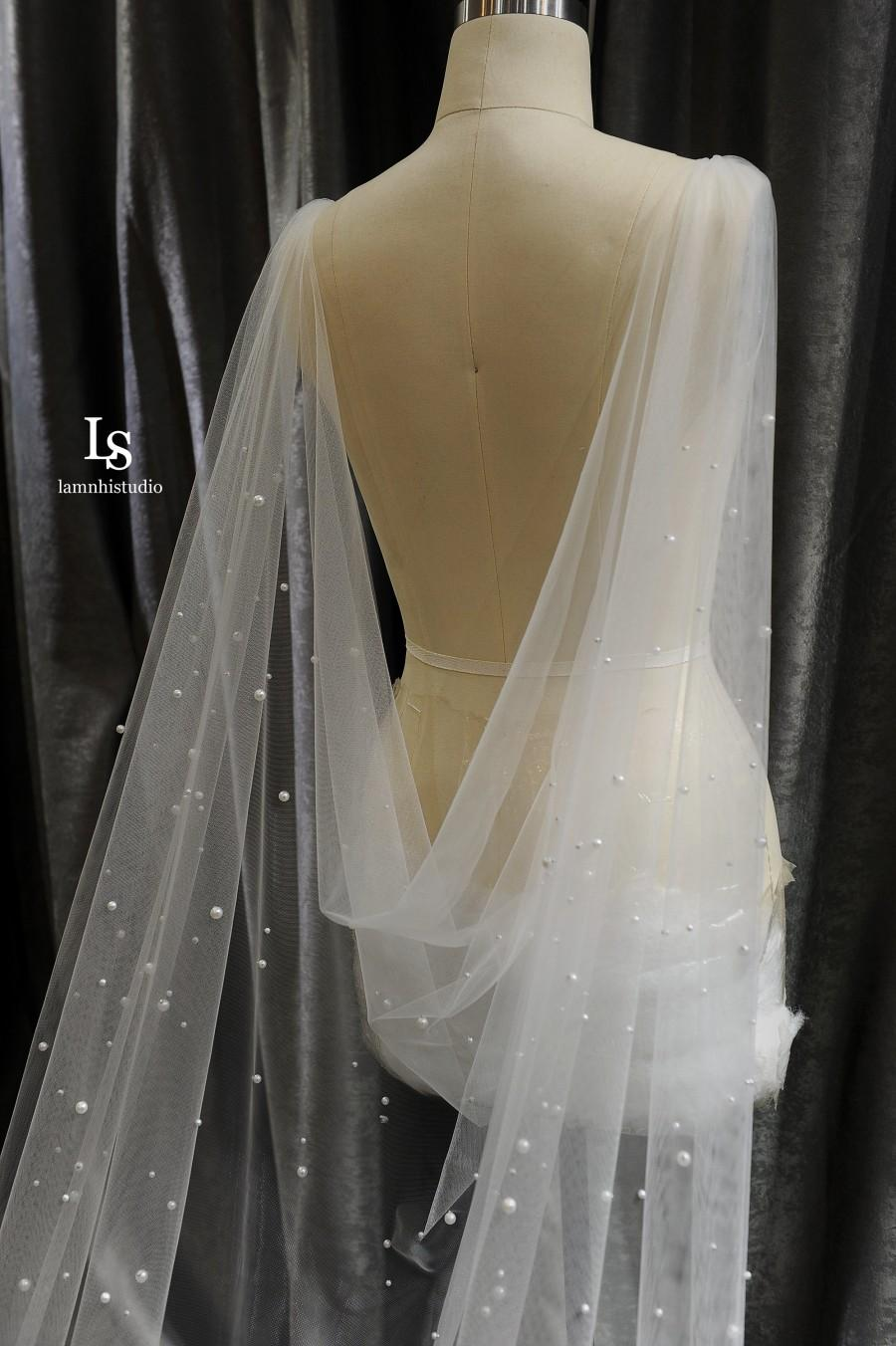 Hochzeit - LS86/pearl cape veil/bridal cape/drapped cape/ chapel veil/ cathedral veil/custom veil