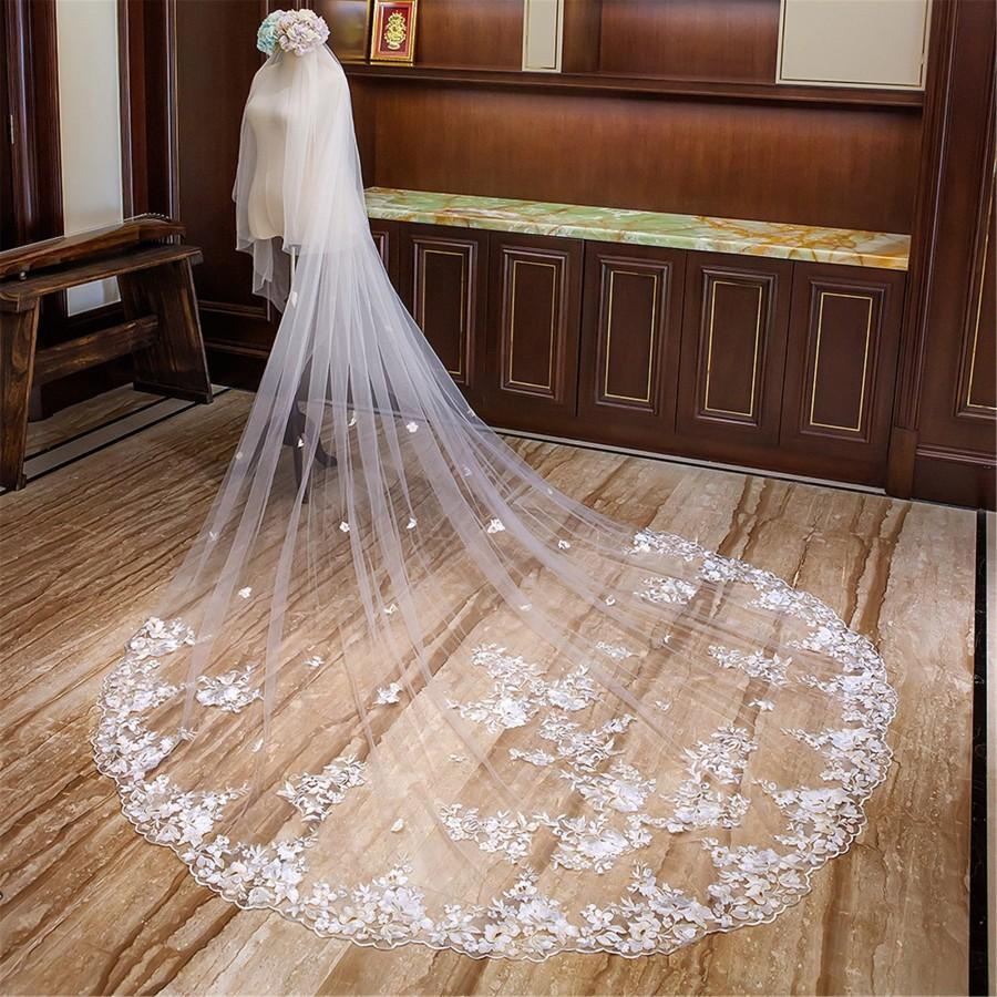 زفاف - Two Layers Hem Lace Veil//3D Ivory Flower//Cathedral Wedding Veil//Flower Veil//Long Bridal Veil//Long Veil Hair Accessory