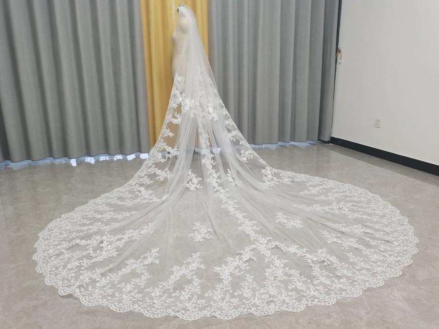 Mariage - Wedding Veil Royal Cathedral Lace Bridal Veil Wedding Veil 1 Tier Cathedral Veil Lace Edge Wedding Veil