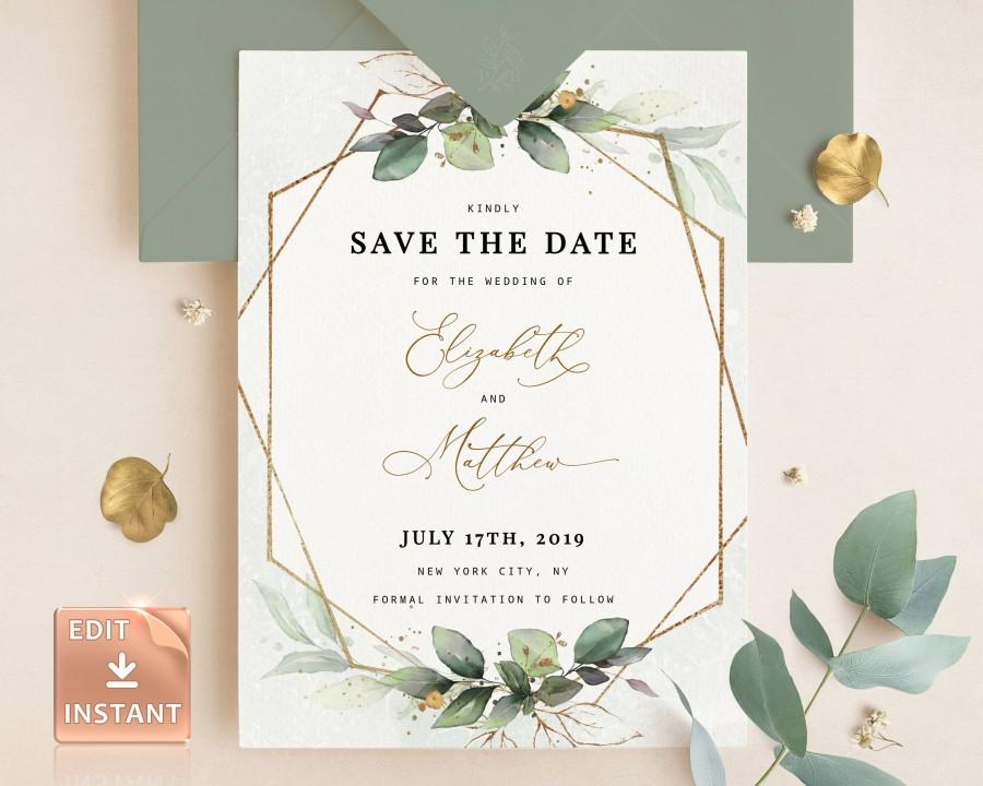 Hochzeit - CLEO - Eucalyptus and Gold Save the Date Card, Bohemian Printable Greenery Template, INSTANT DOWNLOAD, Printable Editable Save the Date