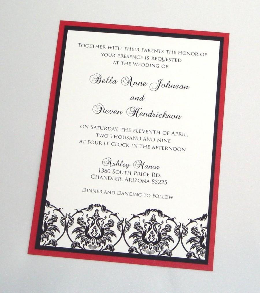 Hochzeit - Bella Damask Wedding Invitation Sample - Black, White and Red