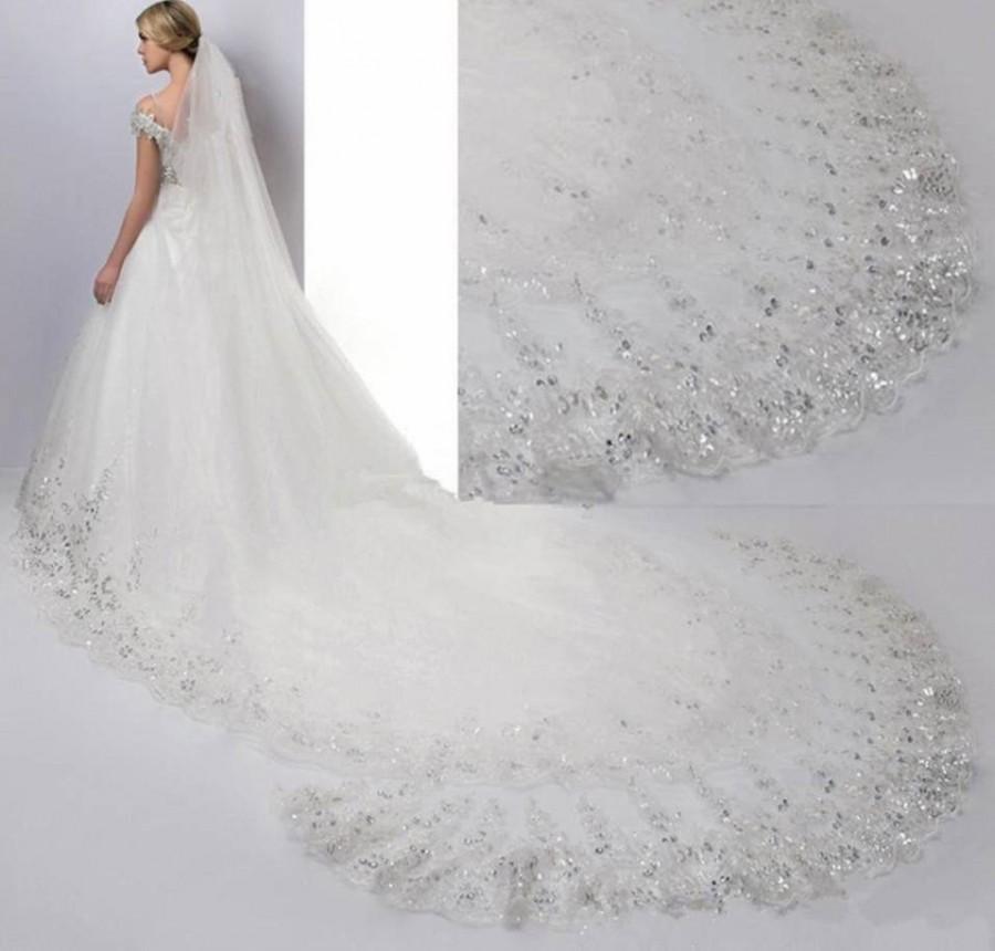 زفاف - Ivory Bridal Veil Cathedral  length, simple bridal veil, long 4meter  veil sequined