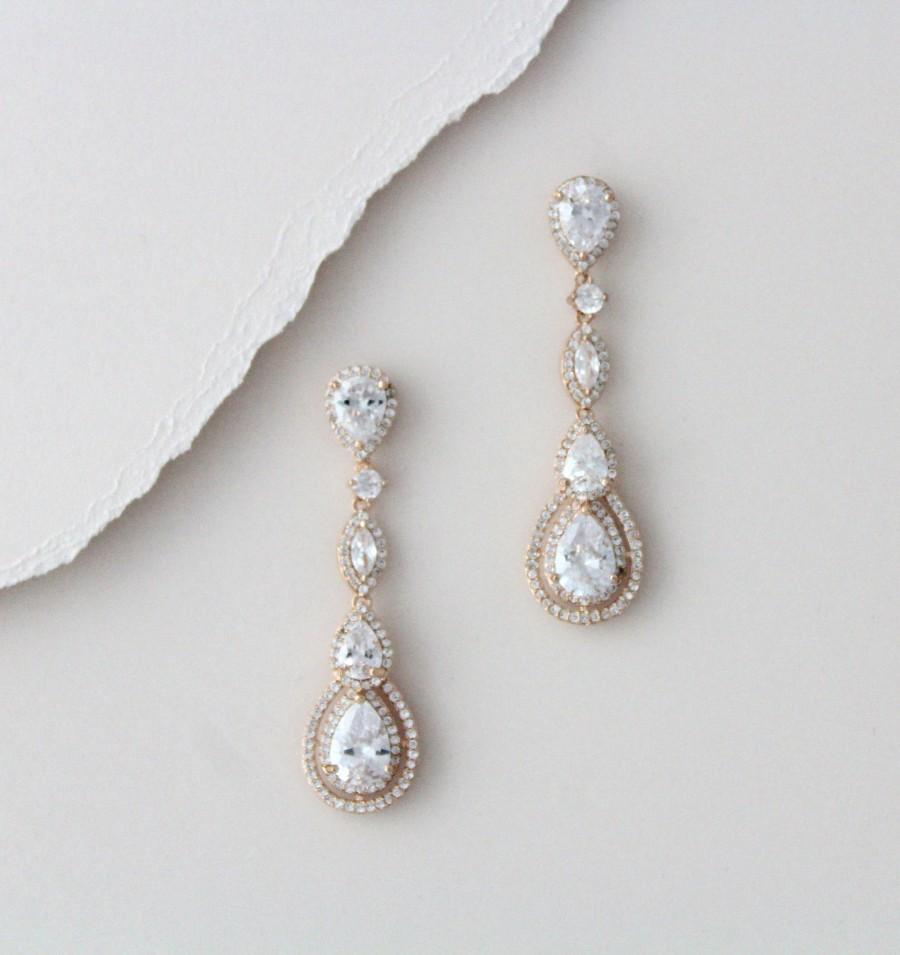 زفاف - Rose Gold earrings Crystal Bridal earrings Bridal jewelry Long Wedding earrings Dangle earrings Rhinestone earrings Chandelier earrings