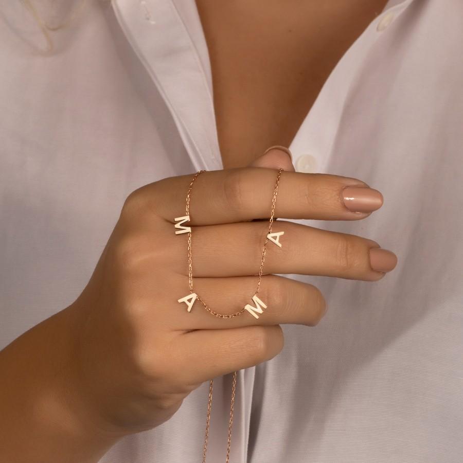 زفاف - Gift for mom, Silver Personalized Letter Necklace, Gold Custom Initial Necklace, Gift for Her, Gift for mama, Mothers Day Gift