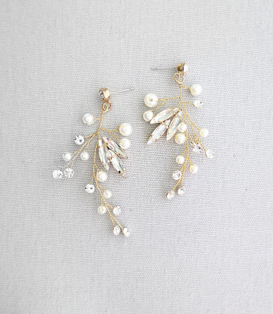 "زفاف - Wedding Vine Earrings, Bridal Earrings with crystals pearls, Gold, Silver, Rose Gold, Boho Pixie Woodland Earrings - ""LILLI"""