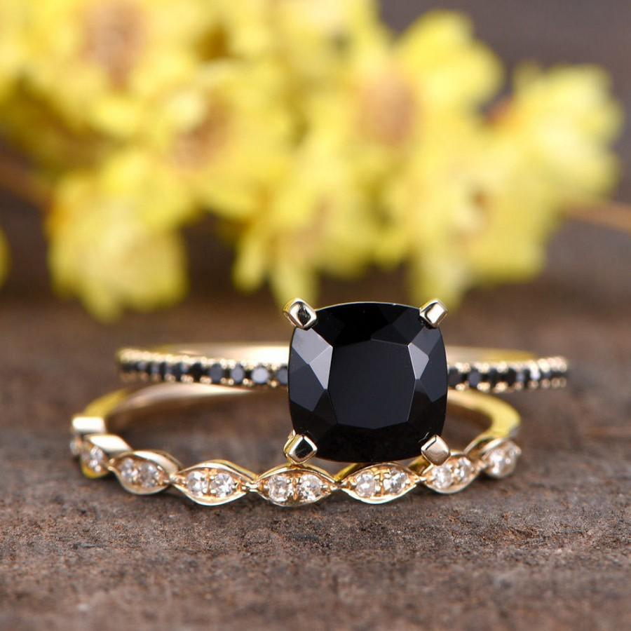 Wedding - 7mm Cushion Black Spinel engagement ring,black diamond wedding band,Marquise diamond matching band,half eternity,solid gold wedding ring set