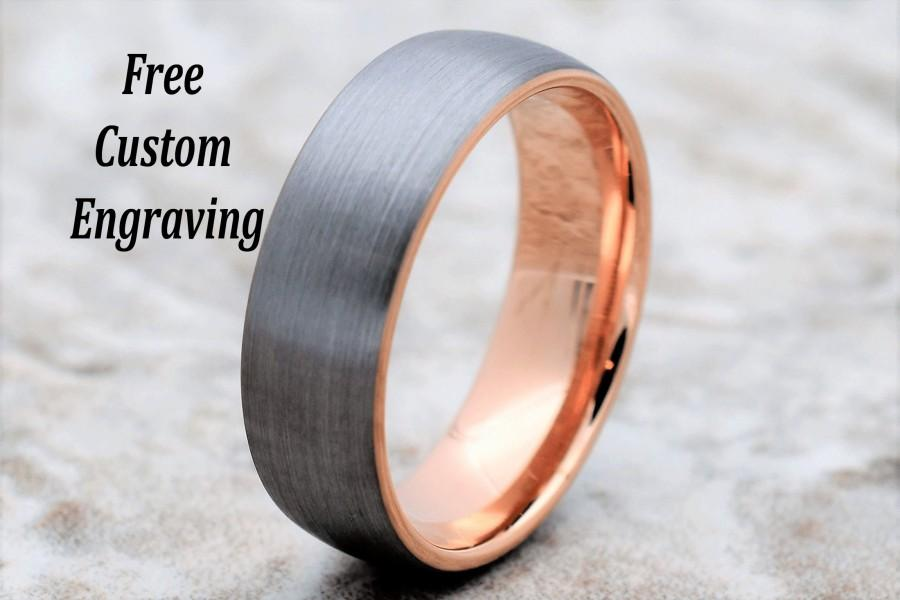 Wedding - Tungsten Wedding Band, Men's Tungsten Wedding Band, Men's Tungsten Ring, Rose Gold Tungsten Ring, Tungsten Band, Personalized Engraving