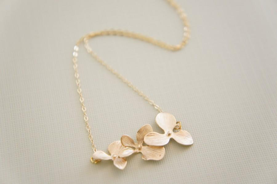 Mariage - gold orchid necklace - triple cascading orchid, bridal, wedding, gift, layered necklace