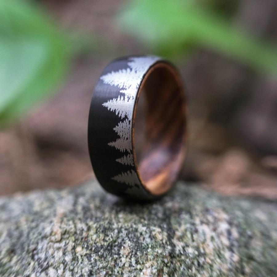 Hochzeit - Men's Wedding Band Tungsten Forest Ring, Nature Anniversary Gift For Him, Tungsten Ring with Trees, Olive Wood Wedding Ring