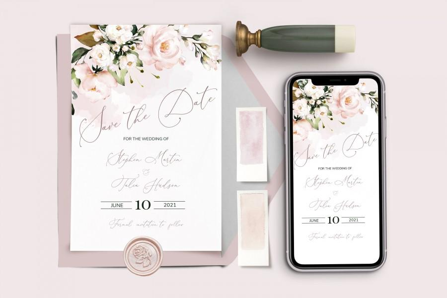 Hochzeit - Save The Date Template, Save the Date Digital Download, Smartphone, Soft Blush pink Flowers the Date Digital Template,  Mobile Editable