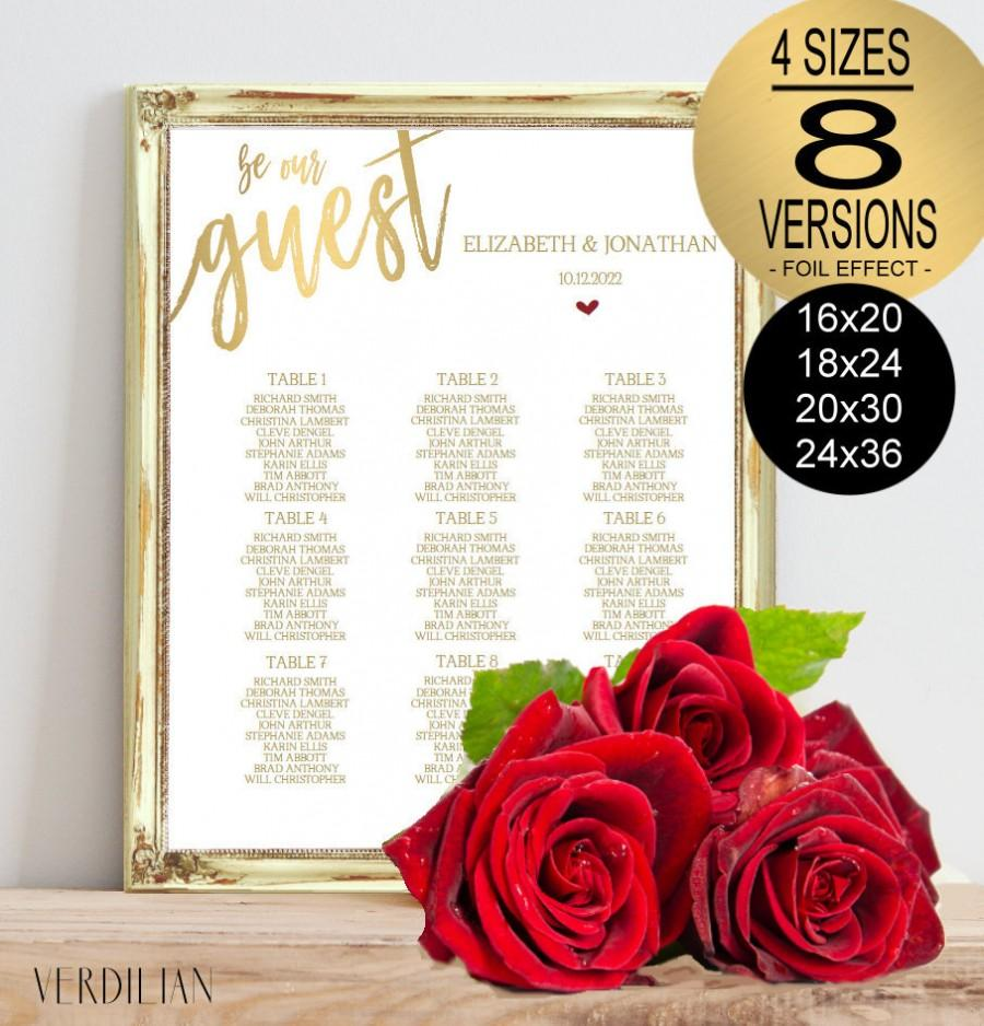 Hochzeit - Be Our Guest Seating Chart Printable Template, Gold Wedding Seating Chart - DIY Editable PDF-DOWNLOAD Instantly