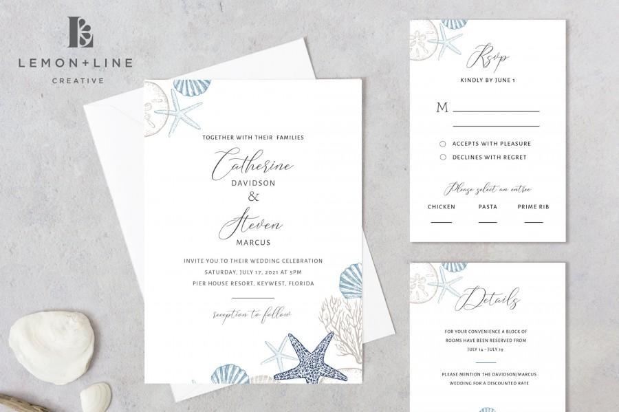 Wedding - Beach Wedding Invitation, Beach Wedding Invitation Template, Beach Theme Invite, Nautical Wedding Invite, Ocean, Seashell Invite, Printable