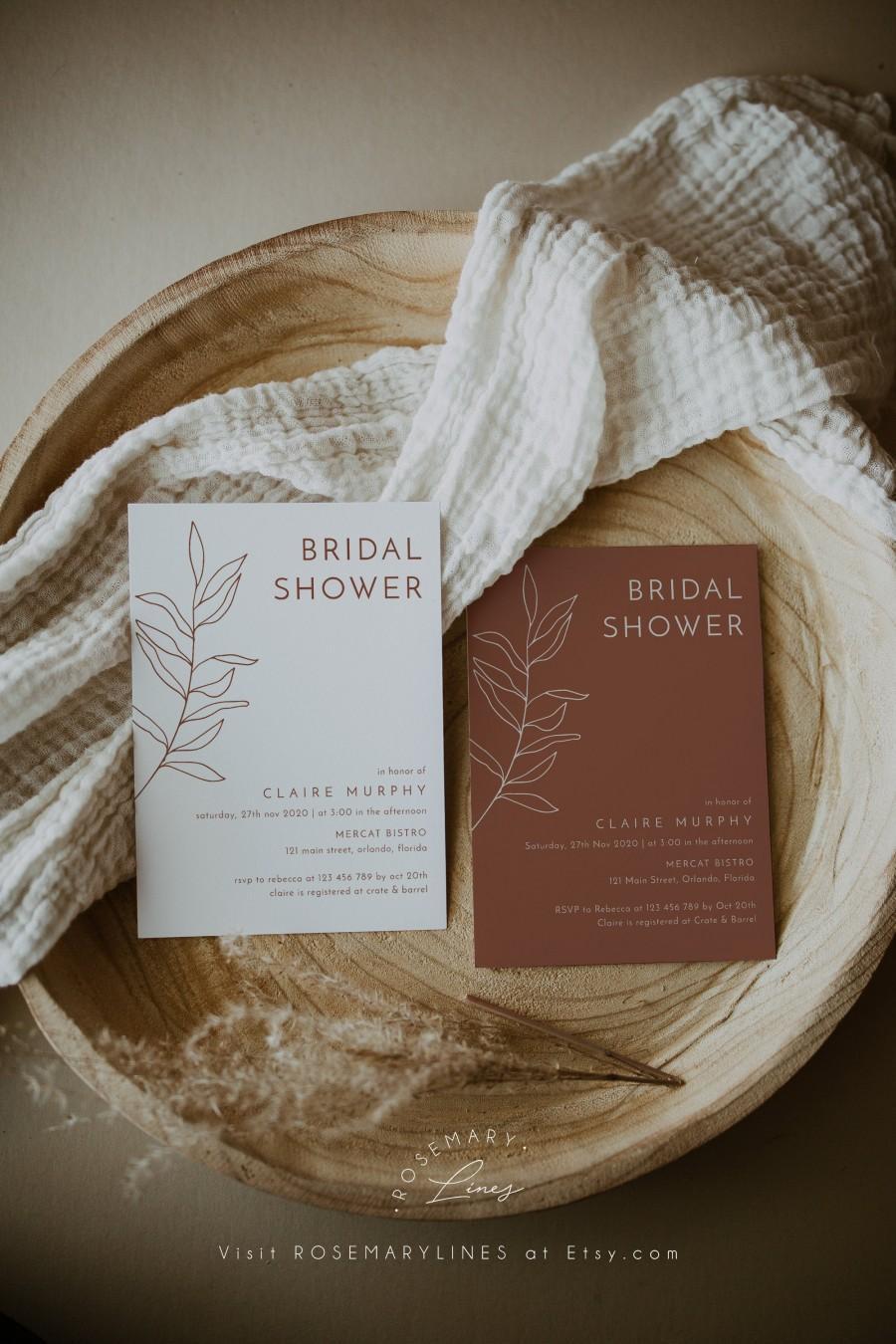 Wedding - Terracotta boho bridal shower invitation template, minimalist bridal shower invites, minimal leaves shower invite, burnt orange #111-7A