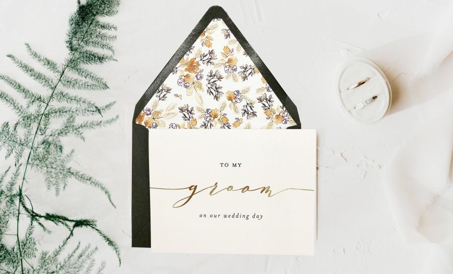 Wedding - to my groom on our wedding day card / wedding card to your groom / gold foil / rose gold foil / silver foil / wedding day card