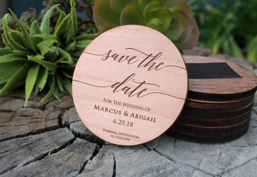 Wedding - Save The Date Magnet, Wood Save The Date, Custom Wood Save The Date, Personalized Save The Date,  Save The Date  --MAG-WOOD-MARCUSABIGAIL