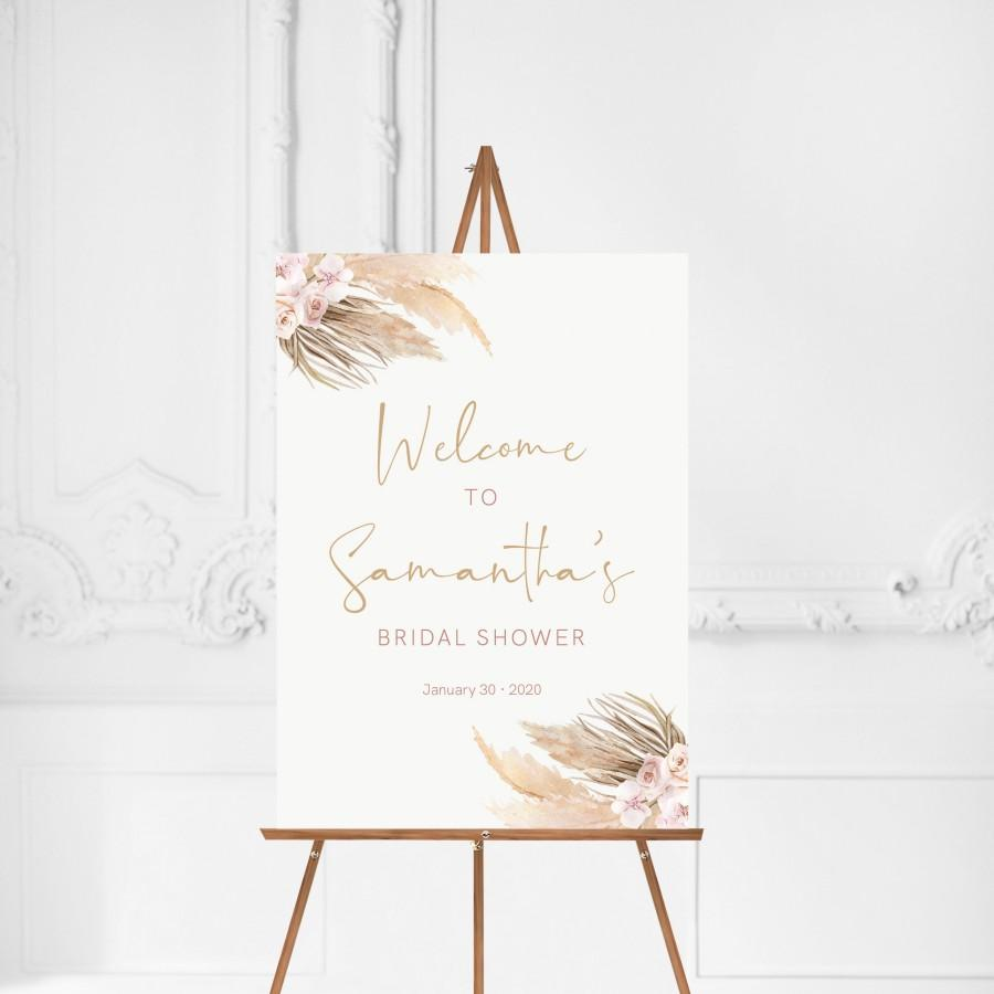 Wedding - Welcome Sign Pampas Grass Bridal Shower, Bohemian, Welcome Bridal, Boho, Bridal Shower Welcome, Bridal Boho