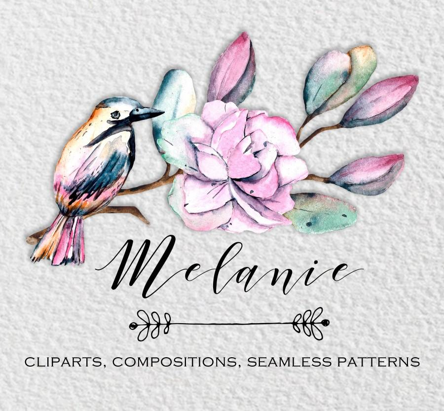 Wedding - Watercolor pink flowers set: elements, compositions,  patterns for wedding invitations, PNG with transparent background, Free Commercial Use